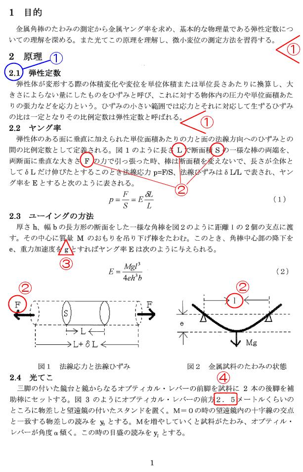 レポートの例/物理学実験/想い...